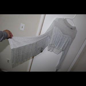 Sheer cropped tassel shirt